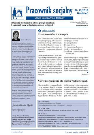 Okładka książki Pracownik socjalny on-line nr.12/2015