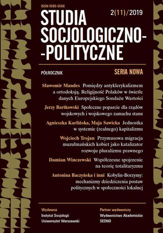 Okładka książki/ebooka Studia Socjologiczno-Polityczne 2(11) 2019