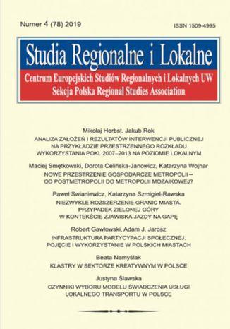 Okładka książki Studia Regionalne i Lokalne nr 4(78)/2019