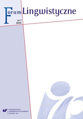 Okładka książki/ebooka 'Forum Lingwistyczne' 2014, nr 1