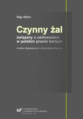 Okładka książki Czynny żal związany z usiłowaniem w polskim prawie karnym. Analiza dogmatyczna i kryminalnopolityczna