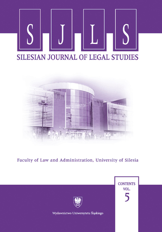 Okładka książki/ebooka Silesian Journal of Legal Studies. Contents Vol. 5