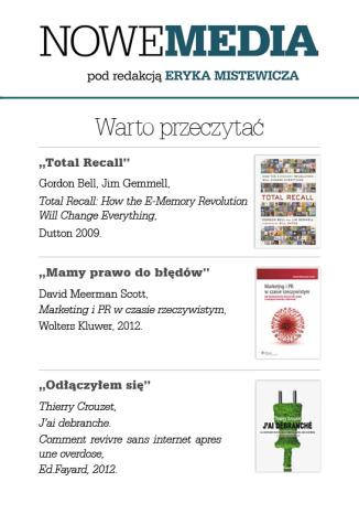 Okładka książki NOWE MEDIA pod redakcją Eryka Mistewicza: Warto przeczytać