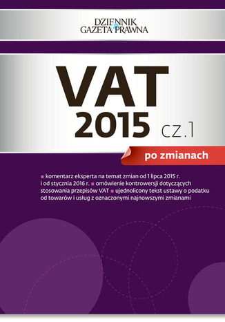 Okładka książki VAT 2015 po zmianach cz. 1