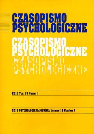Okładka książki/ebooka Czasopismo Psychologiczne Psychological Journal Tom 19 numer 1