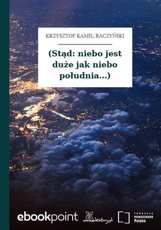 Okładka książki (Stąd: niebo jest duże jak niebo południa...)