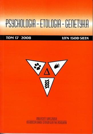 Okładka książki Psychologia-Etologia-Genetyka nr 17/2008