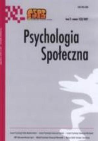 Okładka książki Psychologia Społeczna nr 1(3)/2007