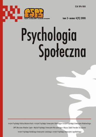 Okładka książki Psychologia Społeczna nr 4(9)/2008