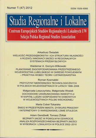 Okładka książki/ebooka Studia Regionalne i Lokalne nr 1(47)/2012