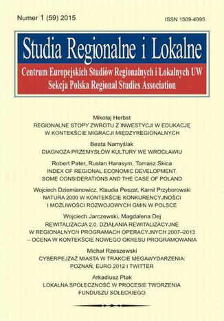 Okładka książki Studia Regionalne i Lokalne nr 1(59)/2015