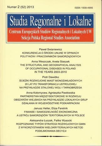 Okładka książki Studia Regionalne i Lokalne nr 2(52)/2013