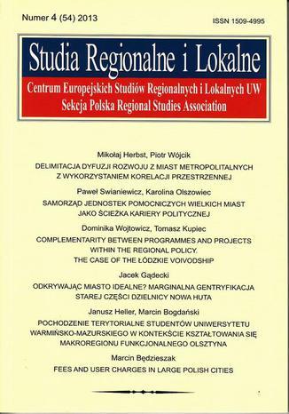 Okładka książki Studia Regionalne i Lokalne nr 4(54)/2013