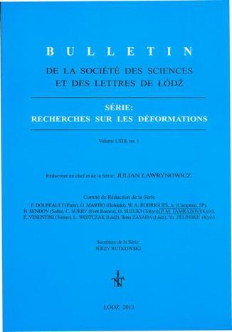 Okładka książki Bulletin de la Société des sciences et des lettres de Łódź, Série: Recherches sur les déformations t. 63 z. 1
