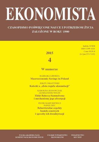 Okładka książki Ekonomista 2015 nr 4