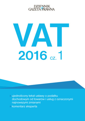 Okładka książki/ebooka VAT 2016 cz. 1