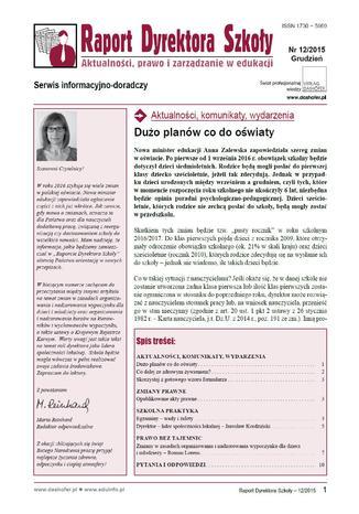 Okładka książki/ebooka Raport Dyrektora Szkoły. Aktualności, prawo i zarządzanie w edukacji. Nr 12/2015
