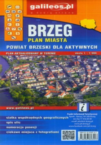 Okładka książki/ebooka Brzeg i Powiat Brzeski. Mapa  Galileos 1:7 000