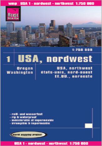 Okładka książki/ebooka USA północny zachód. Mapa Reise Know-How / 1:750 000