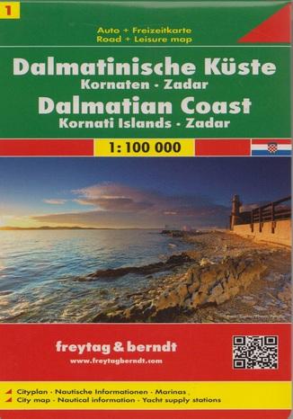 Okładka książki Wybrzeże Dalmatyńskie cz.1 Kornaten Zadar. Mapa Freytag & Berndt / 1:100 000
