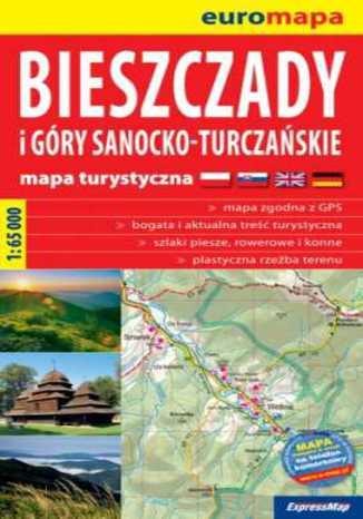Okładka książki Bieszczady i Góry Sanocko-Turczańskie. Mapa ExpressMap / 1:65 000