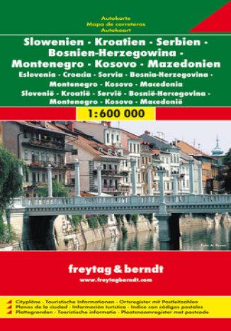 Okładka książki Słowenia, Chorwacja, Serbia, Bośnia i Hercegowina, Czarnogóra, Kosowo, Macedonia. Mapa samochodowa