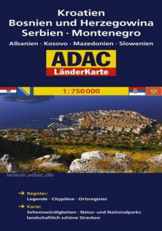 Okładka książki/ebooka Chorwacja, Bośnia i Hercegowina, Serbia Czarnogóra. Mapa