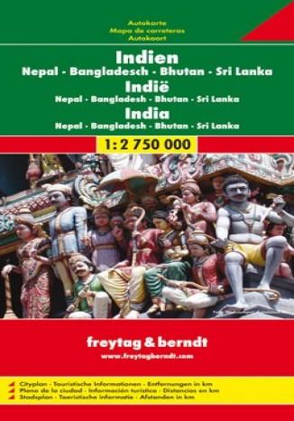 Okładka książki/ebooka Indie Nepal Bangladesz Bhutan Sri Lanka. Mapa 1:2 750 000