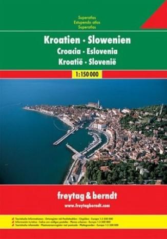 Okładka książki/ebooka Chorwacja Słowenia. Atlas Freytag & Berndt 1:150 000
