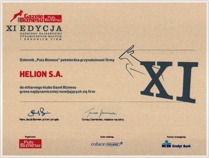 Helion S.A. Gazelą Biznesu 2010 roku